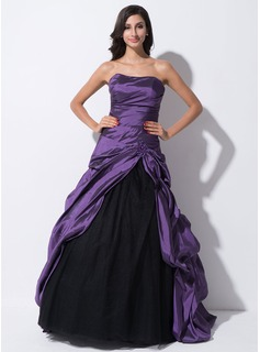 Ball-Gown Sweetheart Floor-Length Taffeta Tulle Quinceanera Dress With Ruffle Beading Sequins