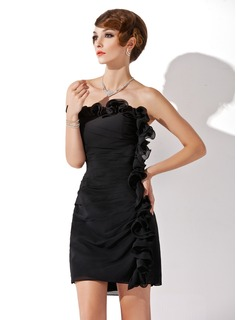 Sheath Strapless Short/Mini Chiffon Cocktail Dress With Ruffle