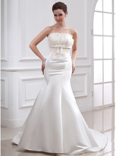 Mermaid Scalloped Neck Chapel Train Satin Wedding Dress With Beadwork Appliques Sequins