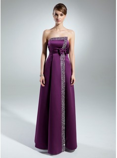 A-Line/Princess Strapless Floor-Length Satin Mother of the Bride Dress With Beading Sequins Bow(s)