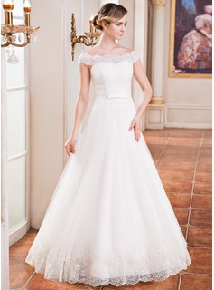 A-Line/Princess Off-the-Shoulder Floor-Length Satin Tulle Wedding Dress With Ruffle Lace Beading Sequins