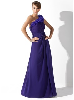 A-Line/Princess One-Shoulder Floor-Length Chiffon Organza Mother of the Bride Dress With Ruffle