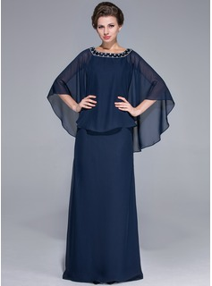 Sheath Scoop Neck Floor-Length Chiffon Charmeuse Mother of the Bride Dress With Beading