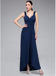 Sheath/Column Sweetheart Asymmetrical Jersey Evening Dress With Beading Sequins Cascading Ruffles