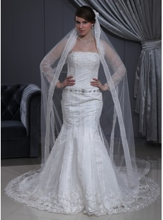 Mermaid Strapless Chapel Train Satin Tulle Wedding Dress With Lace Beadwork (002011462)