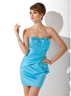 Sheath Sweetheart Short/Mini Satin Cocktail Dress With Ruffle Beading