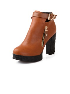 Leatherette Chunky Heel Ankle Boots With Buckle shoes
