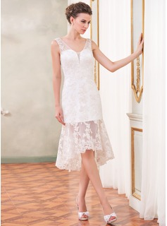 Sheath/Column V-neck Asymmetrical Organza Wedding Dress With Lace Beading Sequins