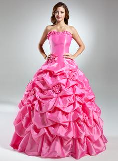 Corte de baile Estrapless Vestido Tafetán Vestido de quinceañera con Volantes Flores