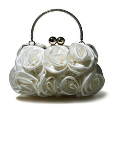 Gorgeous Silk Evening Handbags/ Clutches/ Top Handle Bags(Ivory) (012012241)