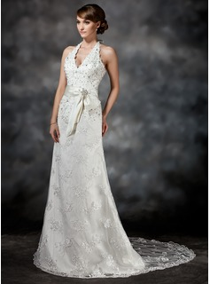A-Line/Princess Halter Court Train Satin Lace Wedding Dress With Sash Beadwork Sequins