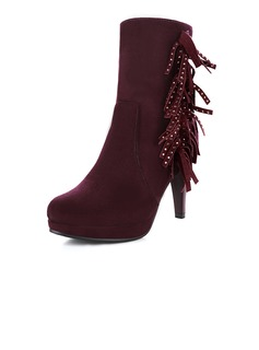 Real Leather Cone Heel Ankle Boots With Tassel shoes