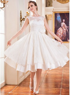 A-Line/Princess Scoop Neck Tea-Length Satin Tulle Lace Wedding Dress With Beading Flower(s) Sequins