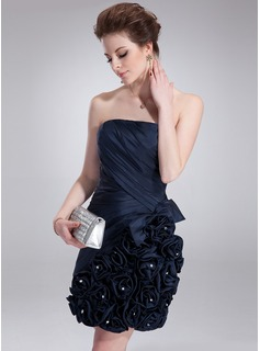 Sheath Strapless Short/Mini Taffeta Cocktail Dress With Ruffle Beading Flower(s)