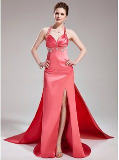 A-Line/Princess Halter Watteau Train Tulle Charmeuse Evening Dress With Ruffle Beading (017019578)