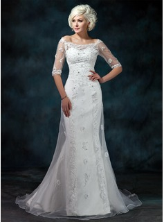 Sheath/Column Off-the-Shoulder Court Train Organza Satin Wedding Dress With Lace Beadwork