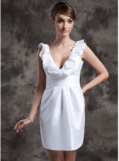 Sheath/Column V-neck Short/Mini Taffeta Wedding Dress With Ruffle (002014989)