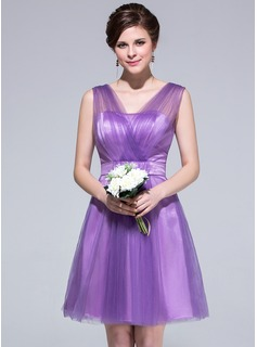 A-Line/Princess V-neck Knee-Length Tulle Charmeuse Bridesmaid Dress With Ruffle