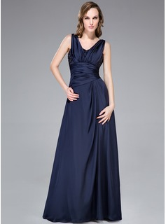 A-Line/Princess V-neck Floor-Length Satin Chiffon Evening Dress With Ruffle Beading