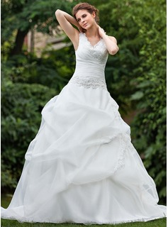 Ball-Gown V-neck Cathedral Train Organza Wedding Dress With Ruffle Lace Beadwork