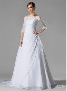 A-Line/Princess Off-the-Shoulder Chapel Train Chiffon Lace Wedding Dress With Ruffle Beading Sequins