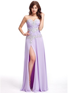 A-Line/Princess Sweetheart Floor-Length Chiffon Evening Dress With Ruffle Lace Beading Split Front