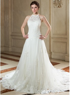 A-Line/Princess Halter Court Train Tulle Wedding Dress With Lace Beading Sequins