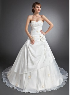 Ball-Gown Sweetheart Cathedral Train Taffeta Organza Wedding Dress With Ruffle Lace Flower(s)