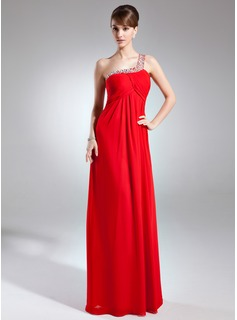Empire One-Shoulder Floor-Length Chiffon Mother of the Bride Dress With Ruffle Beading Sequins