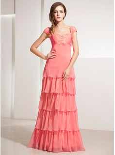 A-Line/Princess Sweetheart Floor-Length Chiffon Holiday Dress With Ruffle Lace