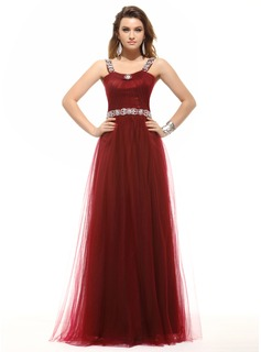 A-Line/Princess Scoop Neck Floor-Length Tulle Evening Dress With Ruffle Beading