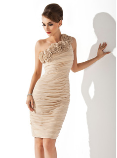 Sheath/Column One-Shoulder Knee-Length Chiffon Cocktail Dress With Ruffle Flower