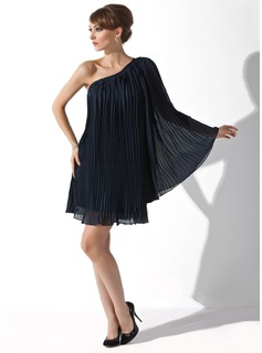 A-Line/Princess One-Shoulder Short/Mini Chiffon Cocktail Dress With Ruffle (016008463)