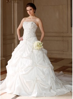 Ball-Gown Sweetheart Chapel Train Taffeta Wedding Dress With Embroidery Ruffle Beadwork Sequins