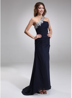 Sheath Court Train Chiffon Evening Dress With Lace Beading (017016875)