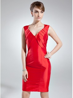 Sheath/Column V-neck Knee-Length Taffeta Mother of the Bride Dress With Ruffle