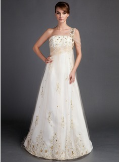 A-Line/Princess One-Shoulder Court Train Satin Tulle Wedding Dress With Ruffle Beadwork