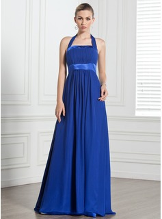 Empire Halter Floor-Length Chiffon Charmeuse Bridesmaid Dress With Ruffle