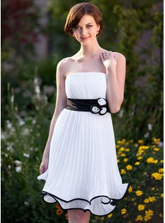 Empire Strapless Knee-Length Chiffon Charmeuse Bridesmaid Dress With Ruffle Sash Flower(s)
