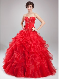 Ball-Gown Sweetheart Floor-Length Organza Satin Quinceanera Dress With Beading