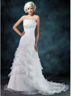A-Line/Princess Scalloped Neck Court Train Organza Wedding Dress With Ruffle Beadwork