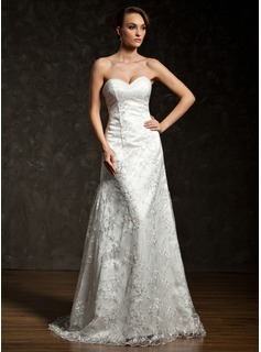 A-Line/Princess Sweetheart Court Train Satin Tulle Lace Wedding Dress With Ruffle Lace