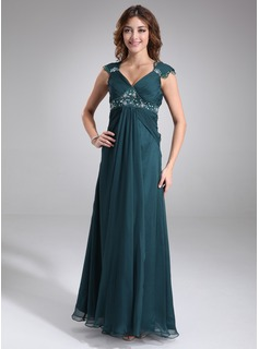 Empire V-neck Floor-Length Chiffon Charmeuse Maternity Bridesmaid Dress With Ruffle Lace Beading