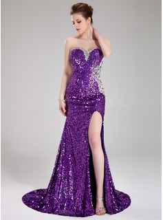Sheath Sweetheart Court Train Sequined Prom Dress With Beading (018024364)