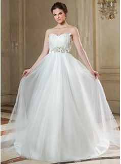 Empire Sweetheart Court Train Satin Tulle Wedding Dress With Beading Feather Appliques Sequins Bow(s)