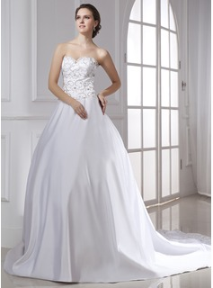 Ball-Gown Sweetheart Chapel Train Satin Wedding Dress With Embroidery