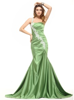Mermaid One-Shoulder Sweep Train Satin Evening Dress With Ruffle Lace