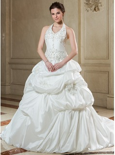Ball-Gown Halter Chapel Train Taffeta Wedding Dress With Embroidery Ruffle Beadwork Sequins