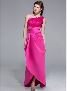 Sheath One-Shoulder Asymmetrical Satin Lace Evening Dress With Ruffle