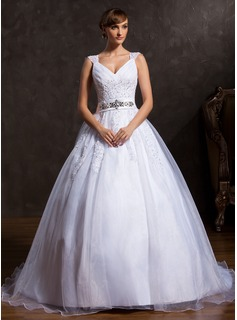 Ball-Gown V-neck Court Train Organza Satin Wedding Dress With Ruffle Lace Beadwork